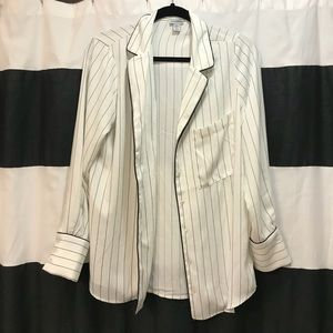 Tops - White and black striped Button Down